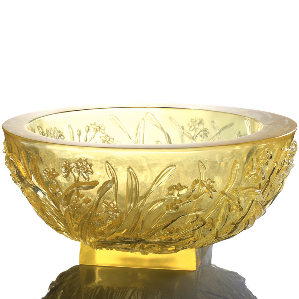 Narcissus Reflection - Narcissus Flower Basin, Floral Vase - LIULI Crystal Art - [variant_title].