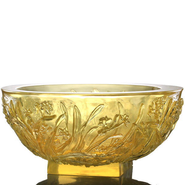 "Narcissus Flower Basin, Floral Vase - ""Narcissus Reflection"" - LIULI Crystal Art 