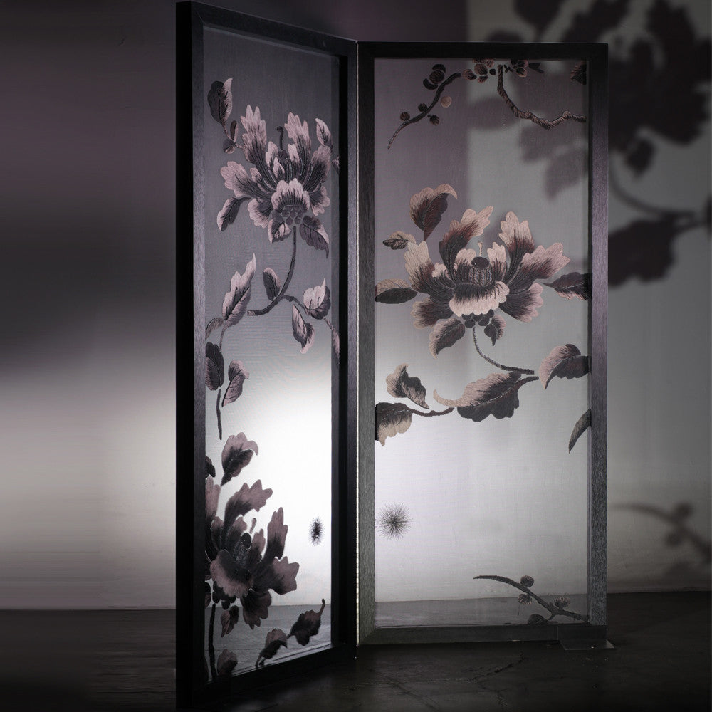 Hand Embroidery Peony Flower Partition Black White 2 Frames
