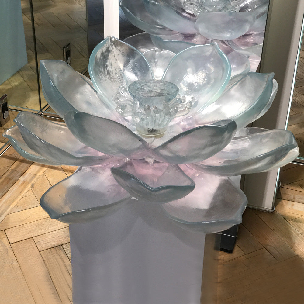 Lotus water fountain liuli crystal art collectible glass art lotus water fountain dhlflorist Images