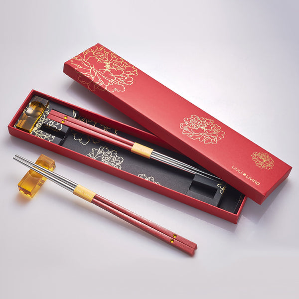 Blessed - Chopstick & Holder Set (Set of 2 Pairs) - LIULI Crystal Art | Collectible Glass Art