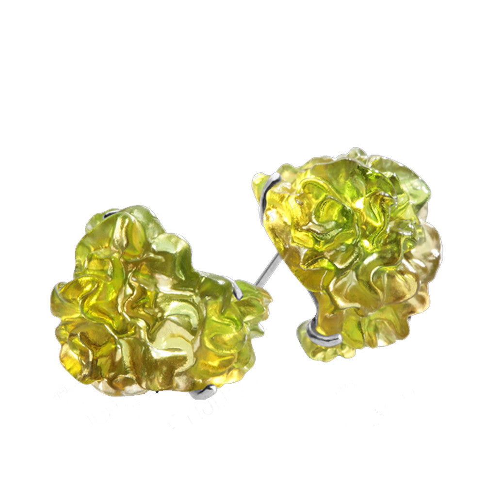 Earrings & Necklace - Every Day a New Bloom (Set of 2) - LIULI Crystal Art - Amber / Green Clear.