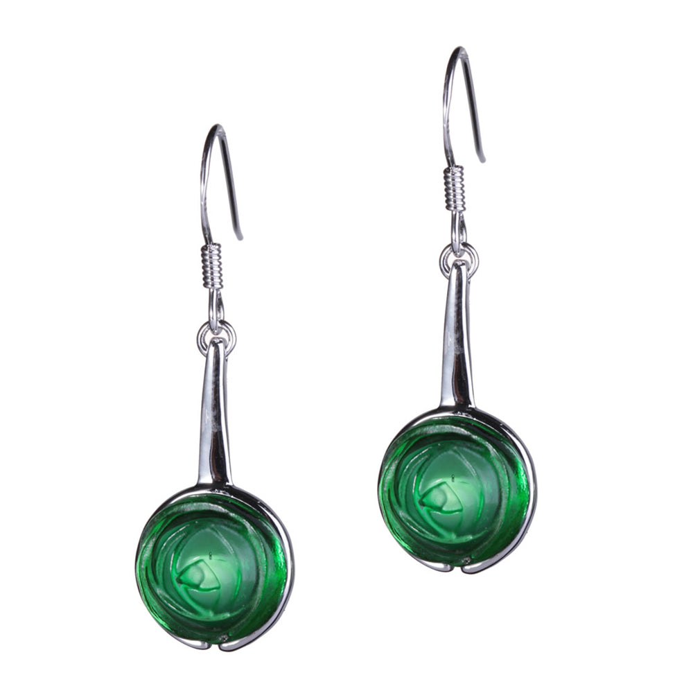Earrings (Forever Love) - Encircled Rose - LIULI Crystal Art - Lush Green.