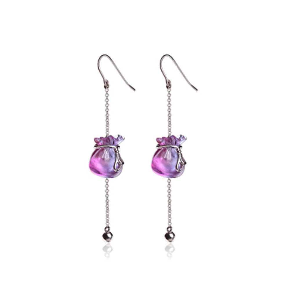 Dangle Earrings (In God We Trust) - With Dreams, Surprise - LIULI Crystal Art - Purple.