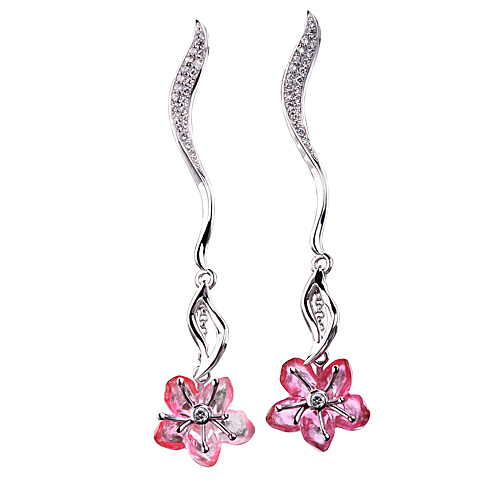 Earrings (Rose) - Single Peach Blossom In Bloom