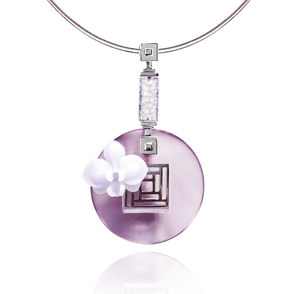 "Necklace, Pendant (Flower) - ""Orchid Moon of the Heart"" - LIULI Crystal Art 