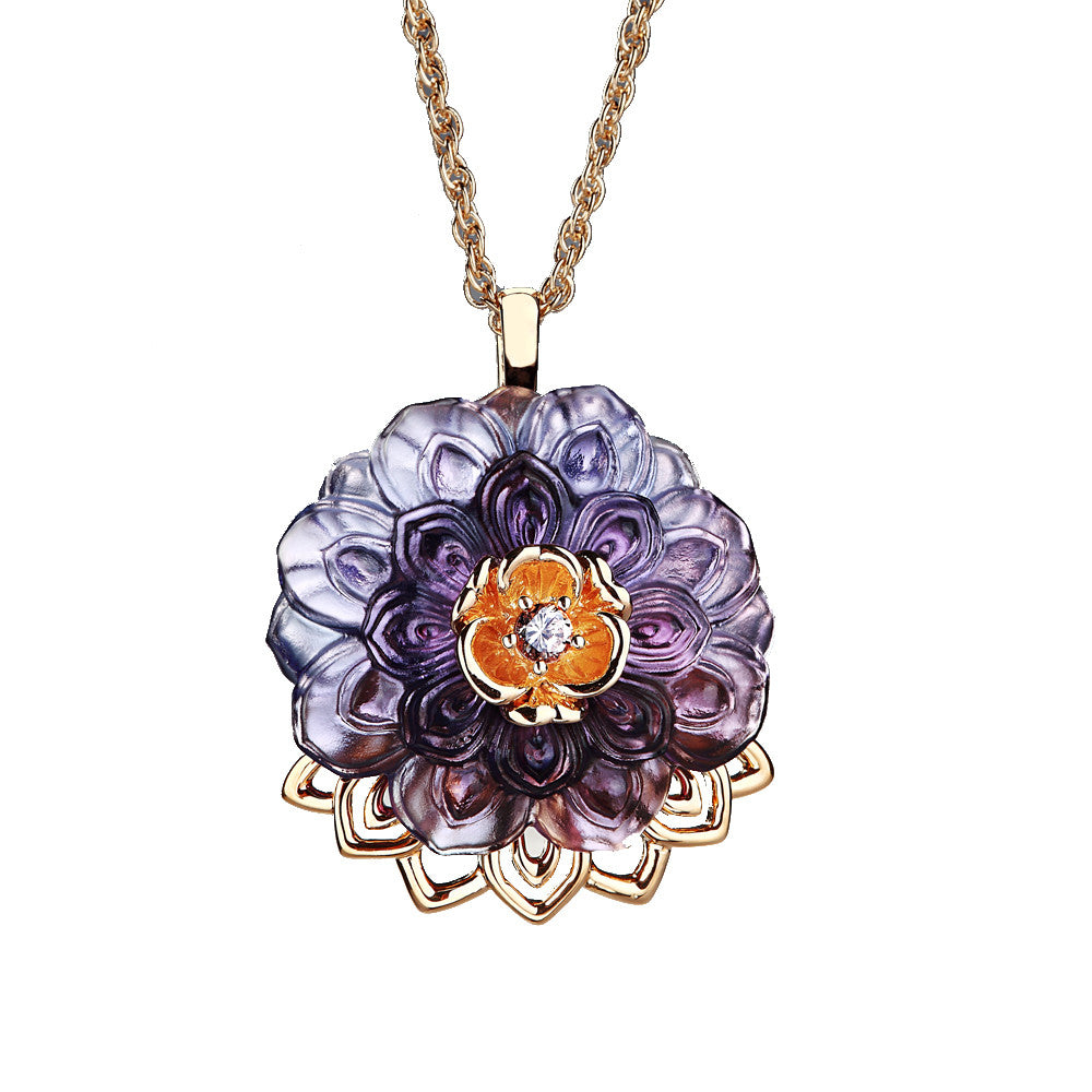 "Necklace (Crystal Flower, Blessing) - ""An Opulent Talisman"" - LIULI Crystal Art 