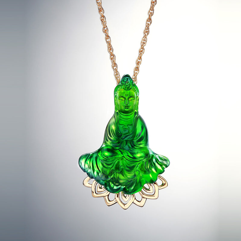 Crystal Necklace, GuanYin, The Eternal Force of Benevolence - LIULI Crystal Art - [variant_title].