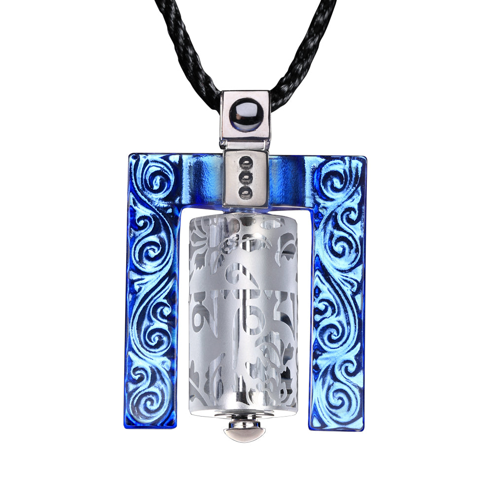 Crystal Necklace, Pendant, LIULI Prayer Wheel, Eternal Cycle of Compassion (Framed) - LIULI Crystal Art