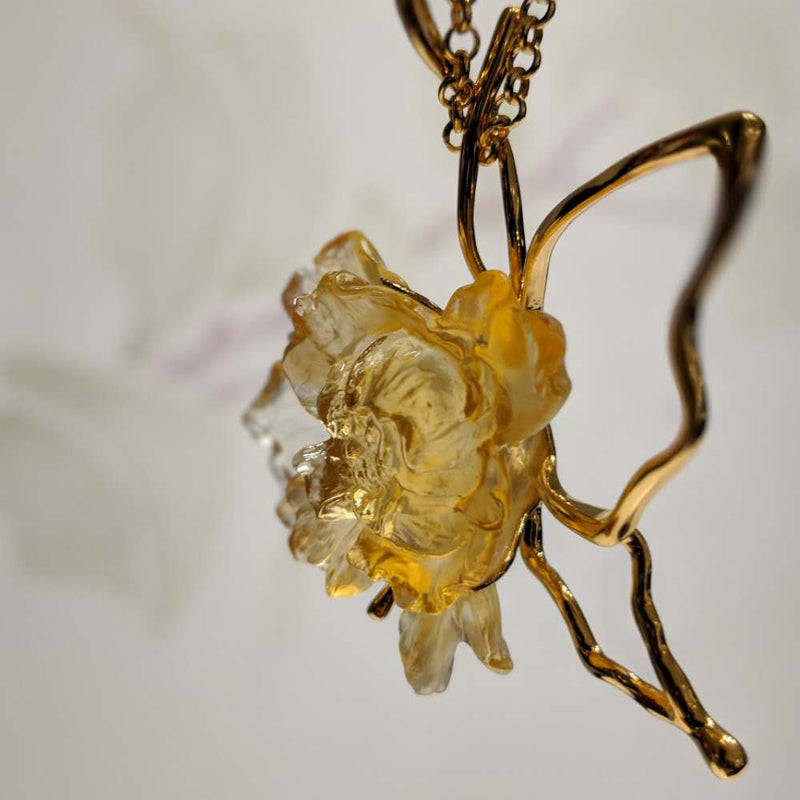 Crystal Necklace, Peony Flower, Dream For Love - LIULI Crystal Art - [variant_title].