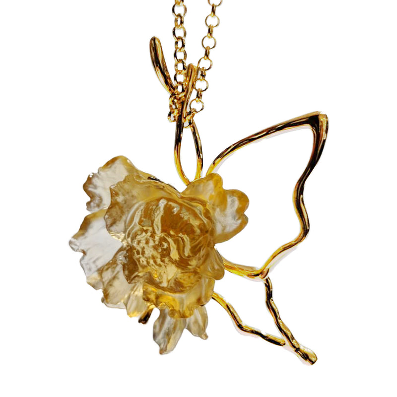 Crystal Necklace, Peony Flower, Dream For Love - LIULI Crystal Art - Amber Clear.
