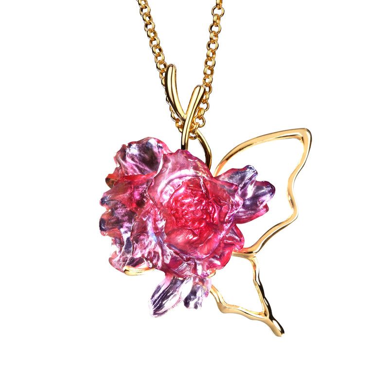 Crystal Necklace, Peony Flower, Dream For Love - LIULI Crystal Art - Gold Red / Blue Clear.