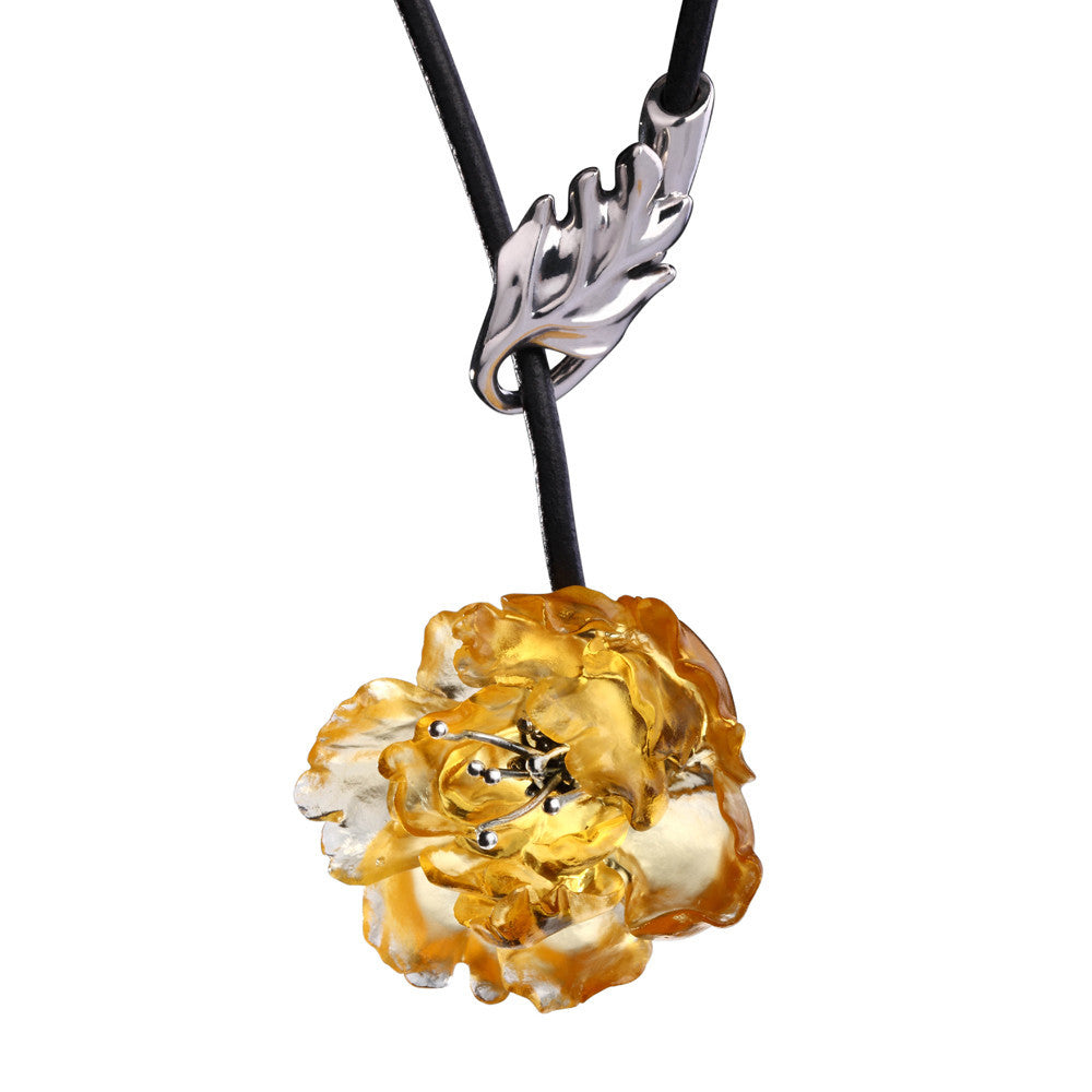 Necklace (Beauty Within You) - Give Yourself a Beautiful Name - LIULI Crystal Art - Amber.