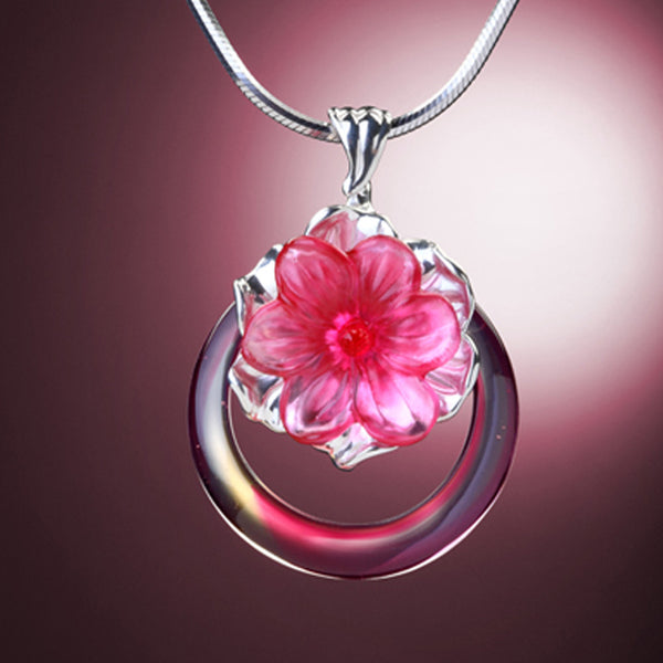 Necklace (Flower, Forever Beauty) - Fulfillment Eternal in the Flowers and Moon - LIULI Crystal Art | Collectible Glass Art