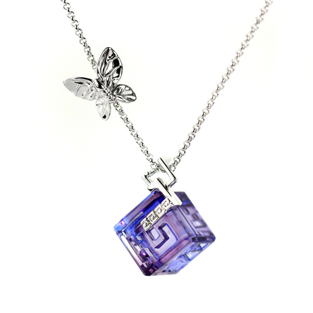 Necklace, Butterfly Figurine (With Love, Everything is Possible) - Gardens of Tuscany - LIULI Crystal Art | Collectible Glass Art