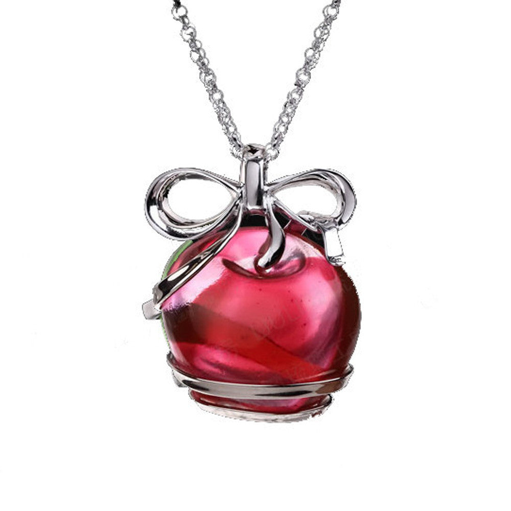 Necklace (Apple) - With Peace and Goodness (Large) - LIULI Crystal Art - Red.