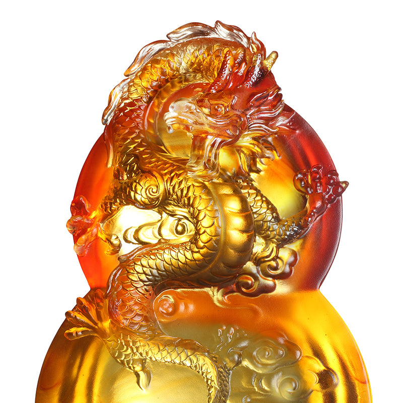 LIULI Crystal Flying Purple Dragon Sculpture on Hulu Gourd, Ambition of the Heavenly Dragon