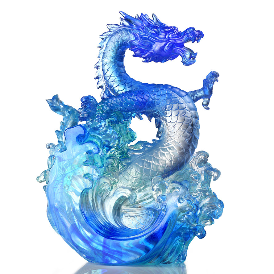 LIULI Crystal Dragon, Ocean Wave, Dragon of Excellence