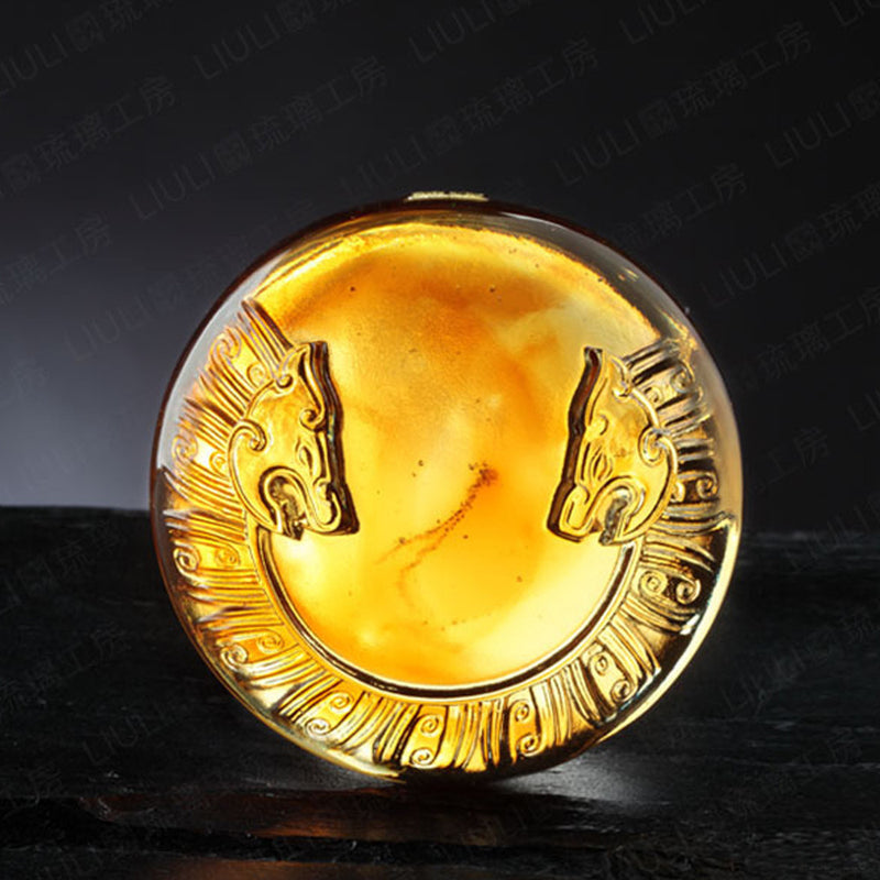 Crystal Paperweight, Mythical Creatures, Tiger of the West: Independent - LIULI Crystal Art