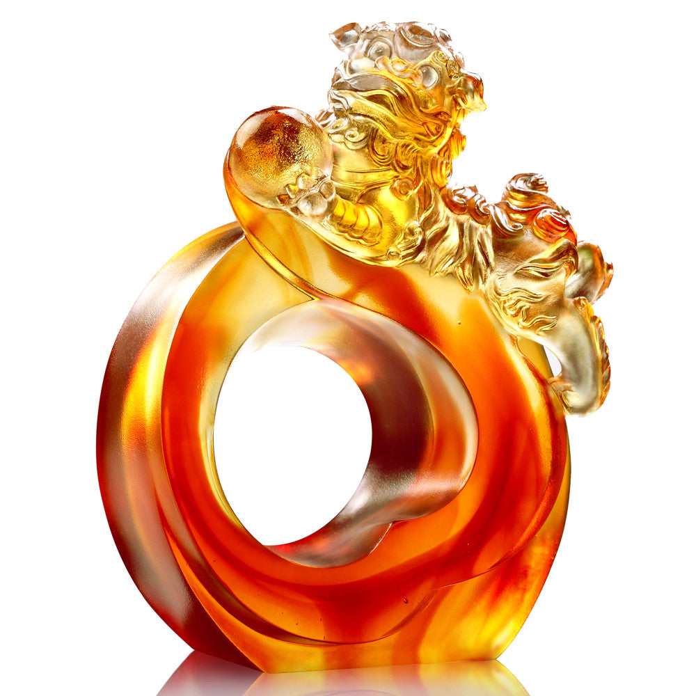 Crystal Mythical Creature, Foo Dog, Fu Dog, Guardian Lion, Frolicking Lion Welcomes Auspiciousness - LIULI Crystal Art - Dark Amber / Light Amber.