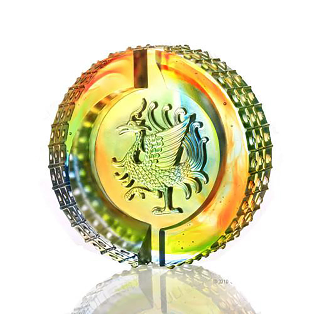Crystal Mythical Creature, Phoenix, Splendor of the Vermillion Bird, Guardian of the South - LIULI Crystal Art