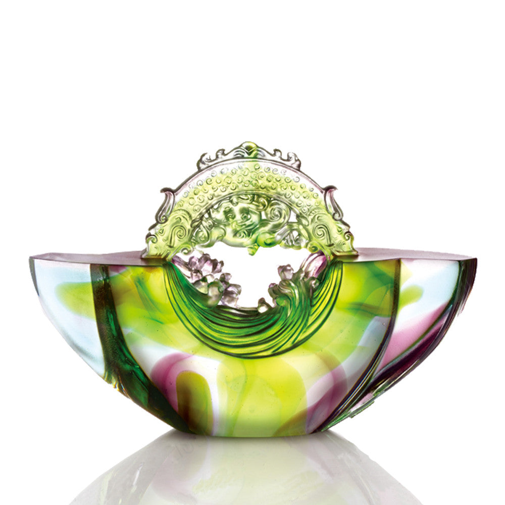 Crystal Chinese Ingot, Gold Nugget, Ubiquitous Brilliance of the Dragon - LIULI Crystal Art - Violet / Green.