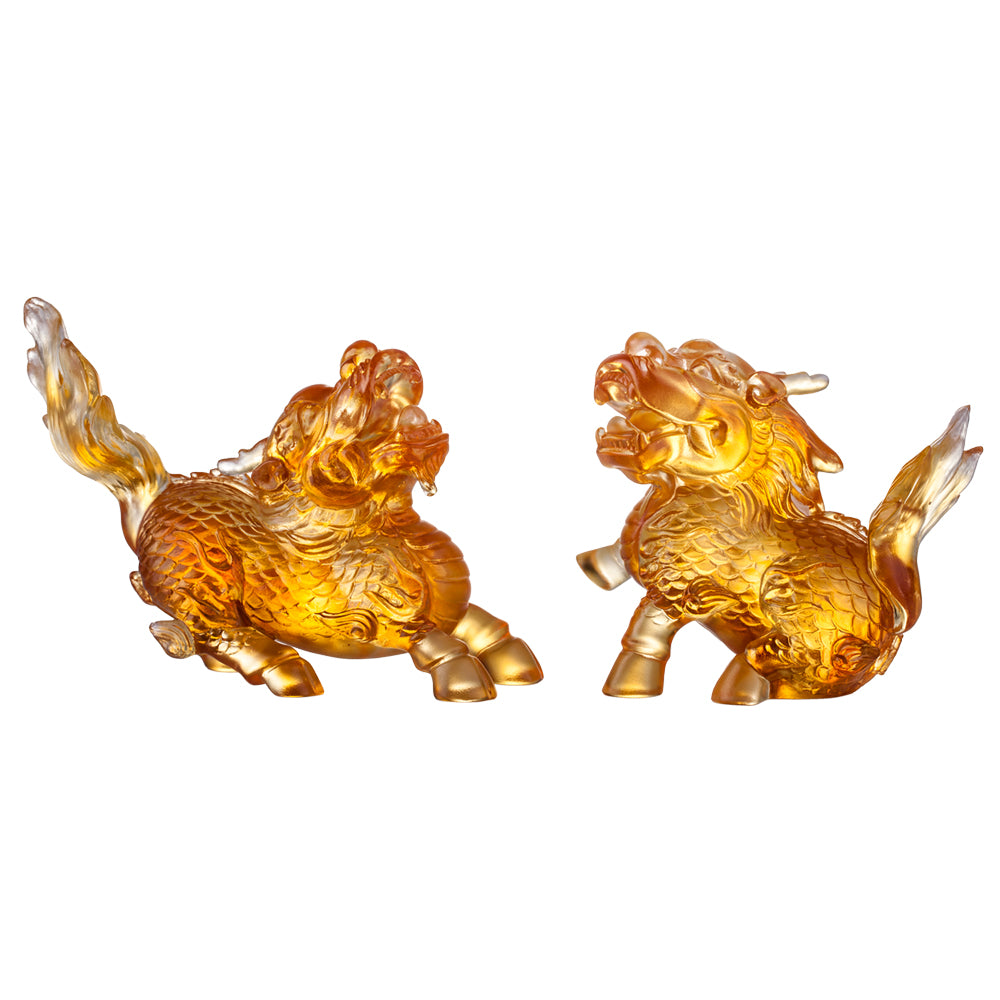 Crystal Mythical Creature, Qilin, Auspicious Qilin, Set of 2 - LIULI Crystal Art - [variant_title].