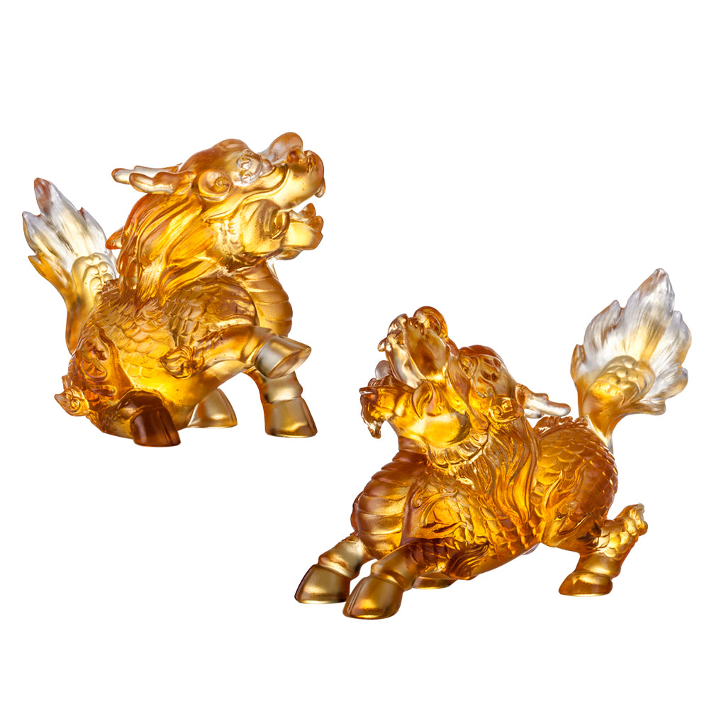 Crystal Mythical Creature, Qilin, Auspicious Qilin, Set of 2 - LIULI Crystal Art - Amber Clear.