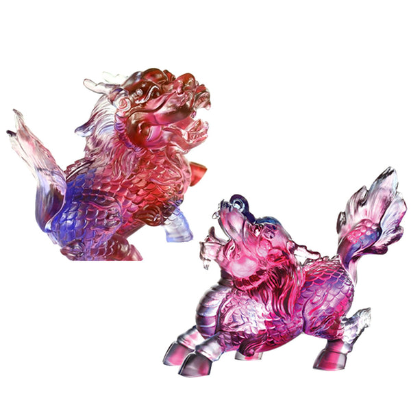 Auspicious Qilin (Guardian and Protection) - Embrace the World (Set of 2) - LIULI Crystal Art