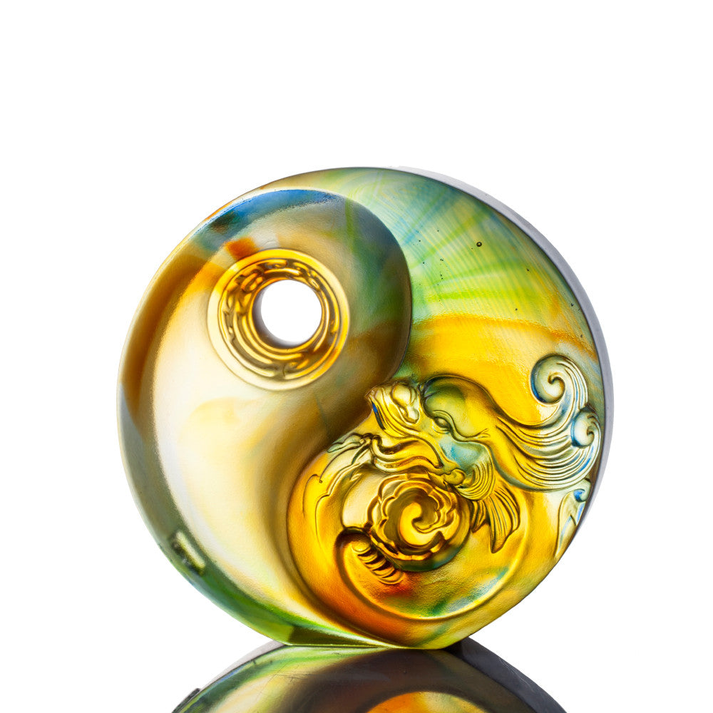 Crystal Paperweight, Mythical Creature, Dragon, The Beauty of Harmony - LIULI Crystal Art - Mixed Color.
