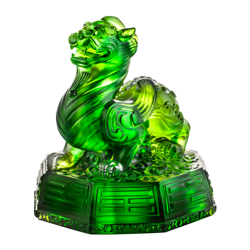 Crystal Mythical Creature, Tianlu, Commander of Peace - LIULI Crystal Art - Spring Green Clear.