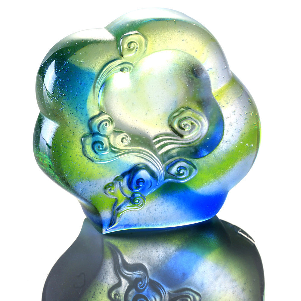 Ruyi from Above (Contentment) - Crystal Paperweight - LIULI Crystal Art - Bluish / Green Clear.