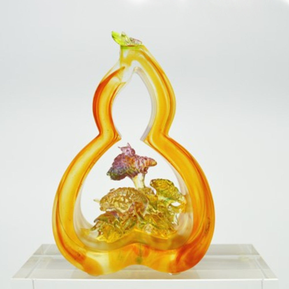 "Flower Figurine (Symbolize Prosperity) - ""Celosia of Fortune"" - LIULI Crystal Art 