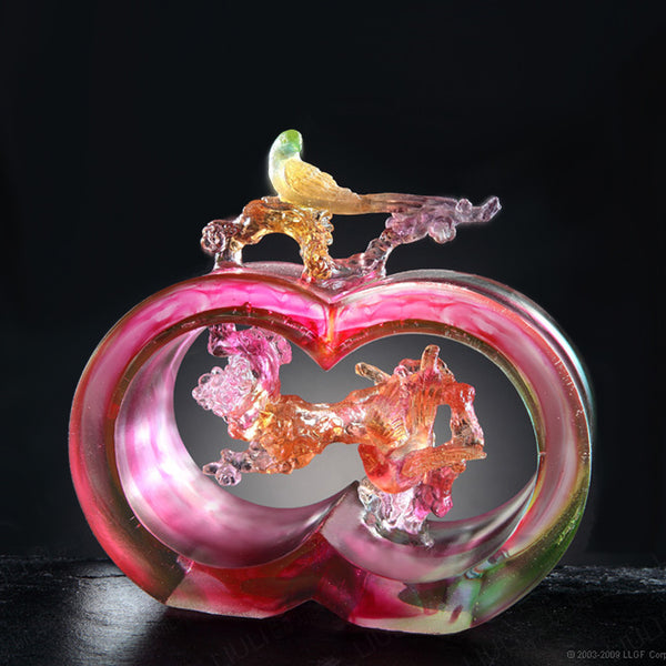 Magpie Bird Figurine (Welcoming Joy) - Plum Blossom Magpie of Joy - LIULI Crystal Art | Collectible Glass Art