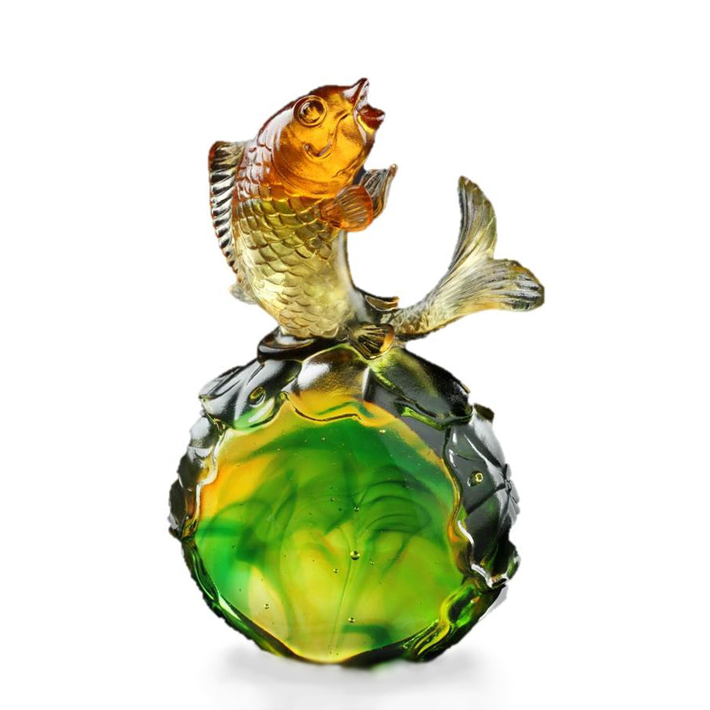 Crystal Fish, Koi Fish, Somersault To The Top - LIULI Crystal Art - Amber / Spring Green.