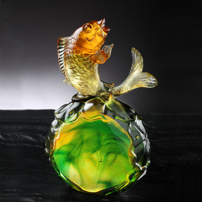 Crystal Fish, Koi Fish, Somersault To The Top - LIULI Crystal Art - [variant_title].