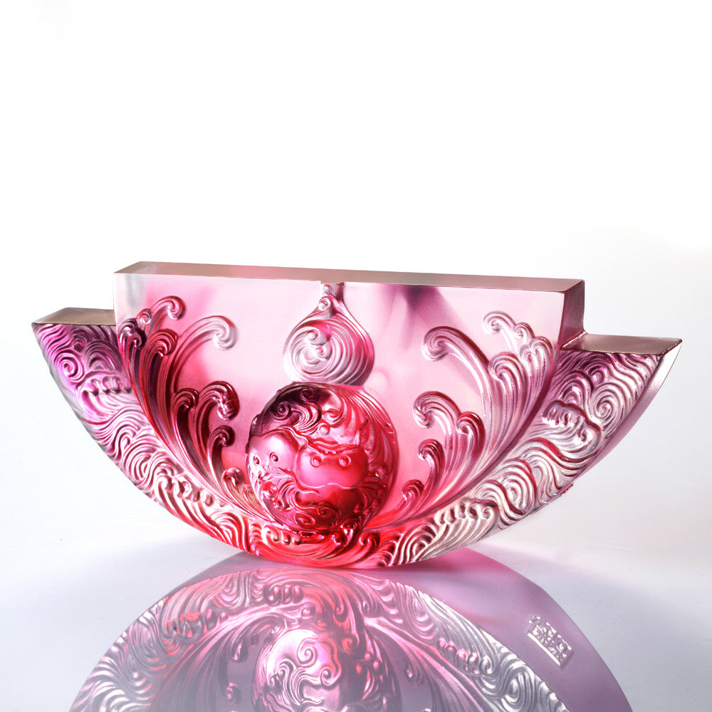 Harmony Permeates the Land (Symbolize Joy of Harmony) - The Beauty of Harmony - LIULI Crystal Art - Gold Red / Purple Clear.