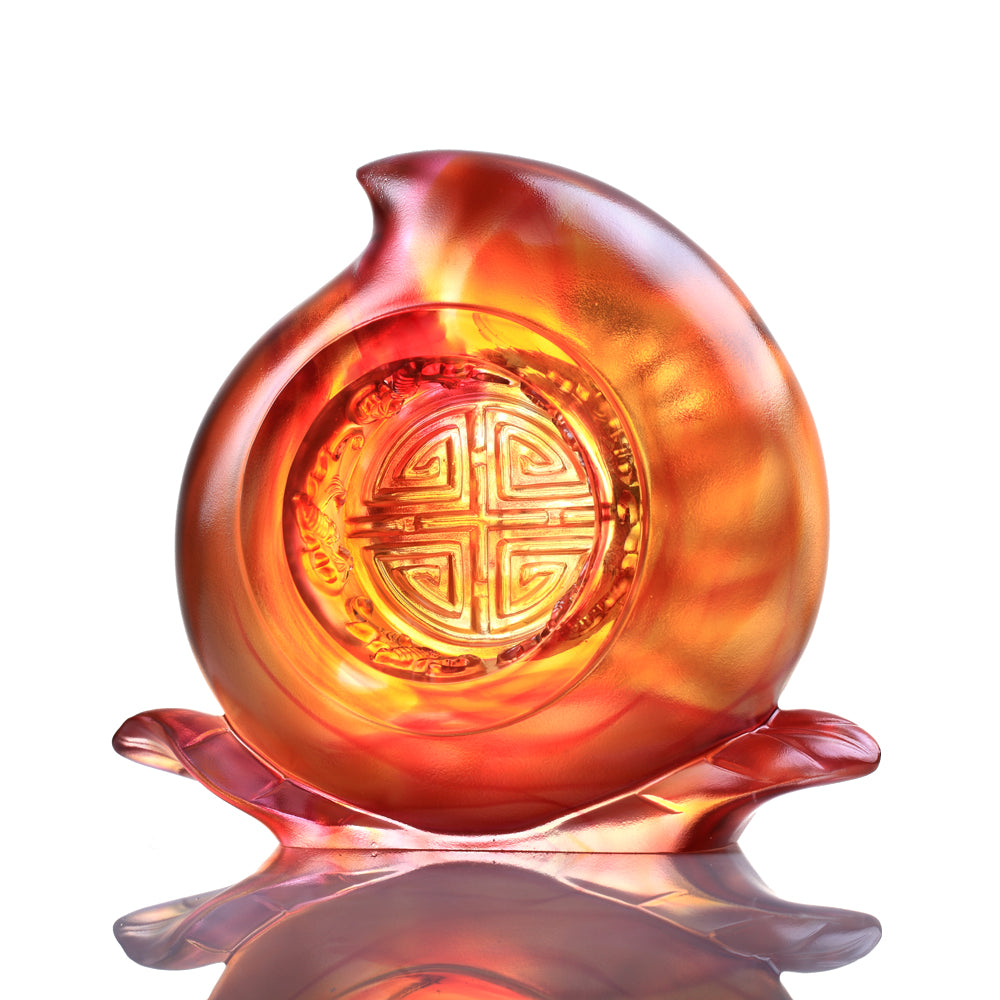 A Good Day, A Good Year, A Good Life (Flourishing Life) - Auspicious Peach Figurine - LIULI Crystal Art - [variant_title].
