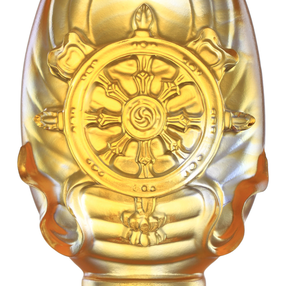 Crystal Feng Shui, Eight Auspicious Offerings, Dharma Wheel-Auspicious Fulfillment - LIULI Crystal Art