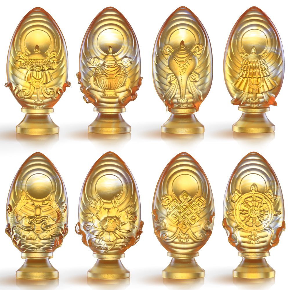 Crystal Feng Shui, Good Fortune & Wealth, Eight Auspicious Offerings, Implement Auspiciousness, The Rest Will Follow (Set of 8) - LIULI Crystal Art