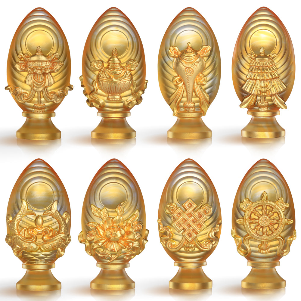 Eight Auspicious Offerings (24K Gilded) - Implement Auspiciousness, The Rest Will Follow (Set of 8) - LIULI Crystal Art | Collectible Glass Art
