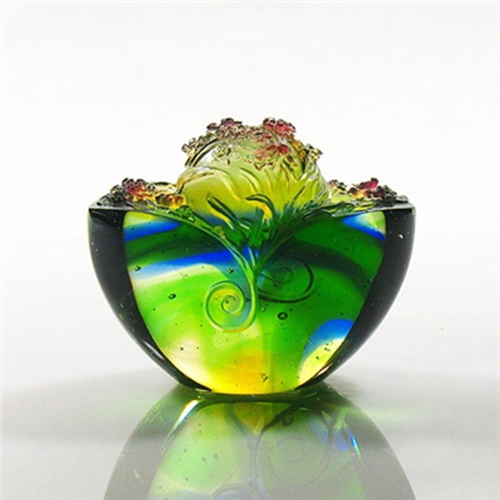 Blooming Flowers, Fulfilling Wishes (Contentment) - Crystal Paperweights - LIULI Crystal Art - Amber / Bluish Green.