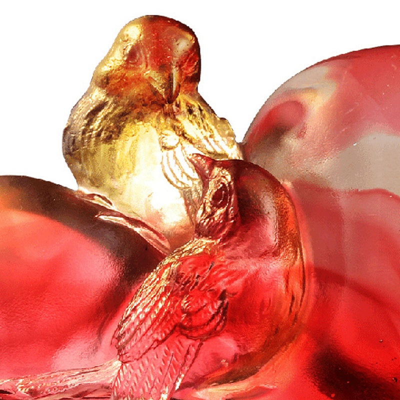 Bird on Heart Shape Figurine (Romance and Love) - Amorous Words - LIULI Crystal Art