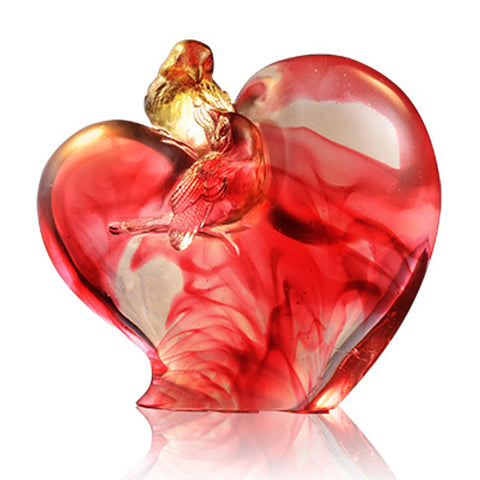 Bird on Heart Shape Figurine (Romance and Love) - Amorous Words