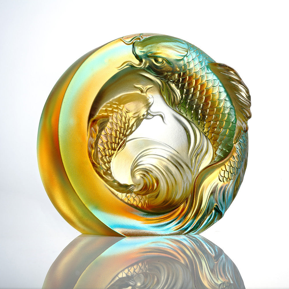 Crystal Paperweight, Koi Fish, An Unfettered Pair - LIULI Crystal Art - [variant_title].
