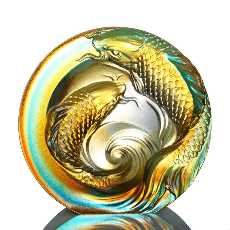 Crystal Paperweight, Koi Fish, An Unfettered Pair - LIULI Crystal Art - Sky Blue / Amber Clear.