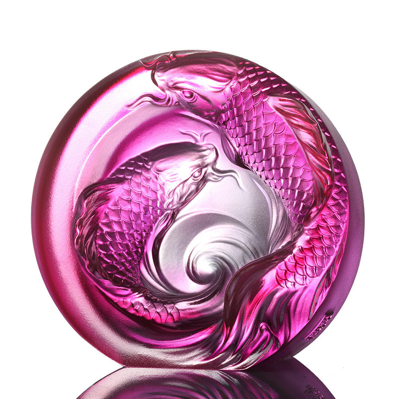 Crystal Paperweight, Koi Fish, An Unfettered Pair - LIULI Crystal Art - Gold Red / Purple Clear.