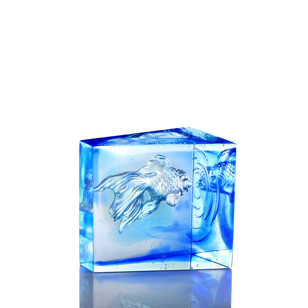 Crystal Fish, Goldfish, Swim Toward Freedom - LIULI Crystal Art
