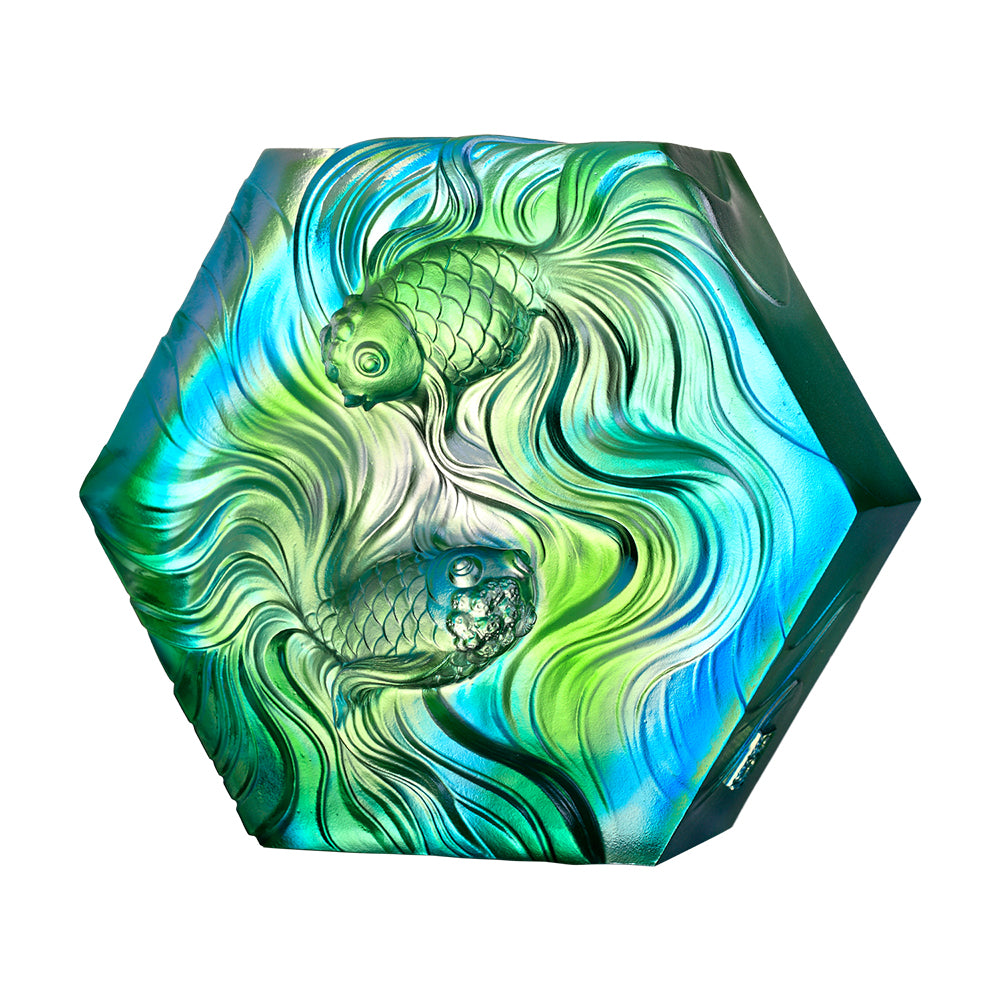 Crystal Fish, Goldfish, An Exquisite Dance - LIULI Crystal Art - Sky Blue / Spring Green Clear.