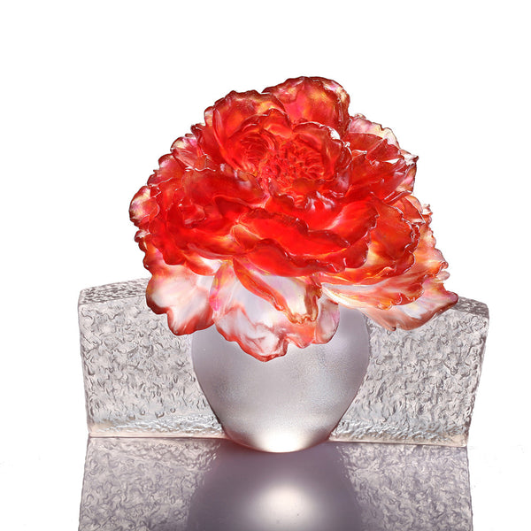 Wondrous Bloom (Blessing) - Peony Flower Figurine - LIULI Crystal Art | Collectible Glass Art